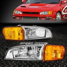 CHROME HOUSING CLEAR HEADLIGHT+AMBER CORNER LIGHT FOR 97-01 SUBARU IMPREZA GM/GC