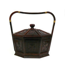 Chinese Rosewood Octagon Immortal Theme Accent Basket cs949-5
