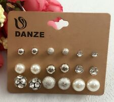 9 pairs Assorted Crystal Diamante Ear Studs Earring Set