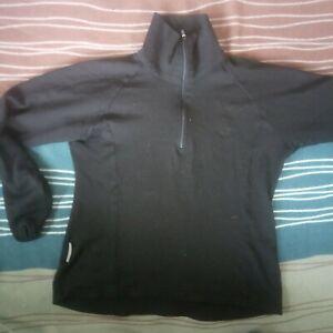 Icebreaker Half Zip long sleeve Bodyfit 260  Black Size S/M 100% Merino women's
