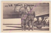 CPA SEPIA AVIATION PLANE AVION LE TRAIT UNION DORET ET LE BRIX RECORDMEN ANIME