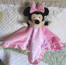 Disney Baby Pink Plush Polka Dot Squares Minnie Mouse Girl Security Blanket Euc