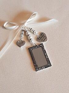"A Wedding Bouquet Photo Charm Oblong Locket  ""always in my heart"" & ""dad"" charm"