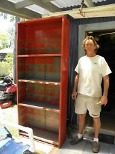 Vintage Industrial Shabby Chic Steel Red Multi Cabinet, Metal Cubby