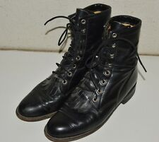 JUSTIN Roper Boots Vintage Women's 7 B Black Leather Lace-up Cowgirl Western