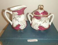 Vtg Beautiful BURGANDY Fine Porcelain China Sugar & Creamer Set - NEW