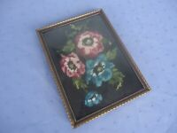 vintage domed convex glass picture photo frame cross stitch denmark brass 20 15
