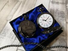 Personalised Godfather gift Black Pocket Watch perfect for christening gift. BW6