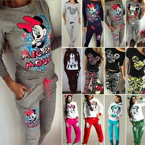 Mickey Mouse Womens Tracksuit Set Ladies Joggers Sport Loungewear Fitness Outfit