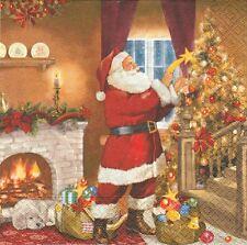 2 Serviettes en papier Père Noël Cadeaux Decoupage Paper Napkins Time for Gifts