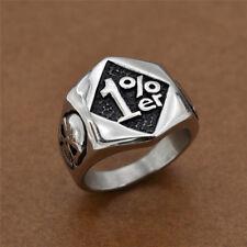 Vintage Stainless Steel Silver Biker 1% er Skull Ring Motorcycle Men's Jewelry