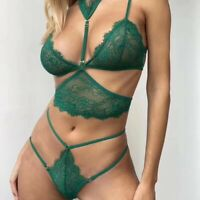 Ensemble 3PCS soutien gorge triangle string dentelle vert sexy lingerie chic