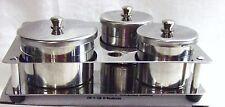 Stainless Steel Dappen Dish Liquid & Powder 3 ct/Set w/ Holder Base Organizer