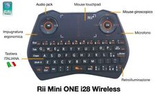 Rii Mini i28 Wireless Tastiera retroilluminata con mouse, audio jack e microfono