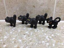 Hallmark Halloween Merry Miniatures Lot Of 5 Black Cats Glowing Eyes