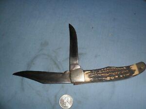 VINTAGE-1970S  -BONE HANDLED KA-BAR TWO- 4 INCH BLADE KNIFE 118 4