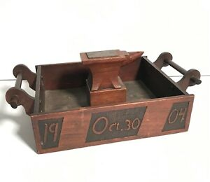 Extraordinary Early 20th C FOLK ART CARVED OAK ANVIL HANDLED BOX,DATED 1904/1919