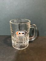 "Vintage AW Root Beer Mini Mugs A&W Oval Logo 3"" Tall Collectible Glass Shot"