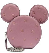 ❤️COACH Boxed Minnie Mouse 37539B Pink/Silver Coin Case