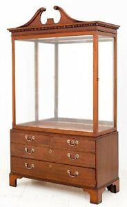 Antique Display Cabinet - Georgian Mahogany Specimen 1880
