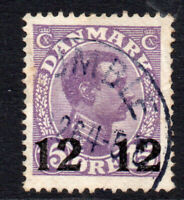 Denmark 12 Ore on 15 Ore Stamp c1926-27 Used (2507)