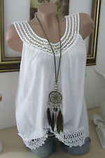 NUOVO Estate tunica pizzo all'uncinetto perle spalline TOP Hippie IBIZA Bianco