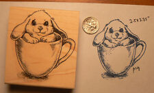 P19  Tea cup bunny rubber stamp WM 3x2""