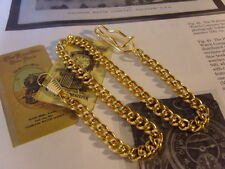 POCKET WATCH CHAIN 10CT GOLD PLATED LONG CURB LINK WITH DOG CLIP & BELT CLIP NEW