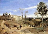 Wonderful Oil painting Corot -  Cervara the Roman Countryside & horseman canvas
