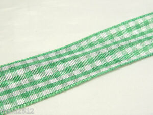 3m x Gingham Ribbon - 20mm wide: Gingham03 Green