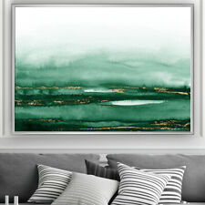Green & Gold Wall Art Minimalist Watercolour Painting Print Poster A4 A3 A2 A1
