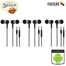 3x black Earphones HandsFree Headset W/Microphone Samsung Galaxy S7 S8,iphone 6