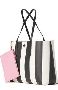 New Kate Spade Molly Stripe Black Multi Tote w/ Wristlet gift