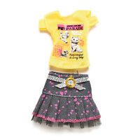 2 Pcs/set Fashion Clothes for s Short Skirt T-shirt Doll Accessories 3C