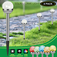 4/8PACK Outdoor Solar Garden Lights Crackle Glass Ball Color Changing Stake