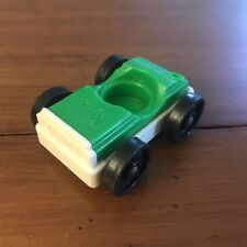 =Vtg Fisher Price LITTLE PEOPLE Play Family Action Garage Race Car Green White