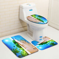 3Pcs Sun Beach Bath Mat Bathroom Anti-Slip Pedestal Rug Lid Toilet Cover  ┞