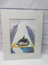 """Black Cat Riding On New York City Taxi Cab Painted Print 9.75""""x11.5"""""""