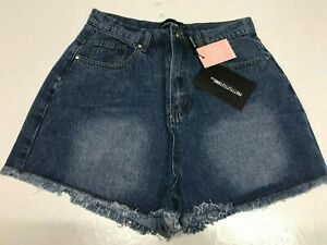 PRETTY LITTLE THING Blue Denim Shorts with Frayed Hem    (FJ255)