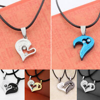 New Couple Heart Girlfriend Boyfriend Lovers Pendant Necklace Chain Gift