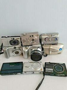 Camera Lot of 9  Cameras canon, Olympus, nikon ,stylus, lumix ===SOLD FOR PARTS=