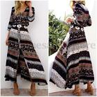 ZANZEA Boho Women Long Sleeve Vintage Print Beach Evening Party Long Maxi Dress