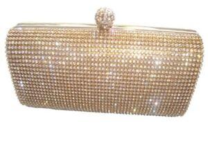 Gold Crystal Diamante Stone Evening handbag Clutch Purse Party Wedding Prom Xmas