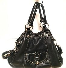 B.Makowsky Pebbled Black Leather Drawstring Crossbody Bag Purse Detachable Strap