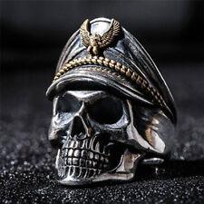 Fashion Man's World War Military Cap Band Ring Punk Skull Biker Finger Rings