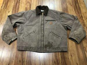 MENS XL - Vtg Carhartt J97 Sandstone Blanket Quilted Lined Detroit Jacket
