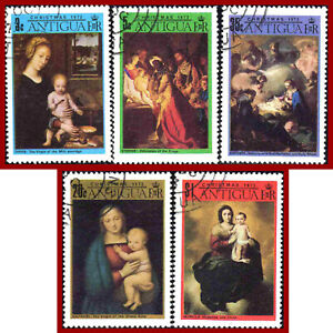 Antigua 1973 Christmas ART, Madona and Child paintings by Raphael, etc SG 305-9