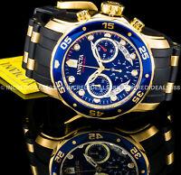 Invicta Men Pro Diver Scuba Chronograph 18Kt Gold Blue Dial PU Strap Watch 6983