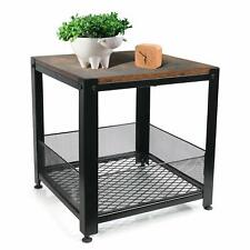 YOUNIS Side Table End Mesh Shelves Industrial Wood and Metal Frame Furniture USA