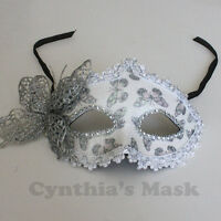 White Venetian Masquerade Mask w/ Rhinestones & Butterfly Party Prom Wedding